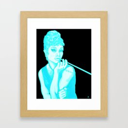 Gia as Hepburn Bright Blue Framed Art Print
