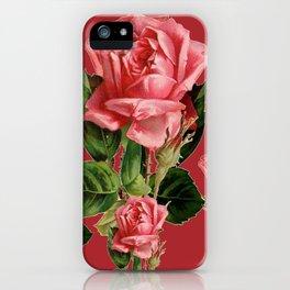 ROSE MADDER ANTIQUE VINTAGE ART PINK ROSES iPhone Case