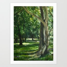 Green Nature Landscape Tree Forest Painting 'Midday Reverie'  Art Print
