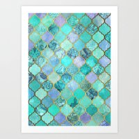 moroccan Art Prints featuring Cool Jade & Icy Mint Decorative Moroccan Tile Pattern by micklyn