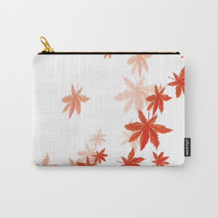 Falling red maple leaves watercolor painting Carry-All Pouch