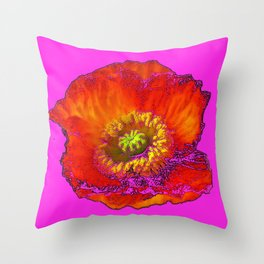 ARTISTIC FLAMING ORANGE POPPY FLORAL ON CERISE  VIOLET Throw Pillow
