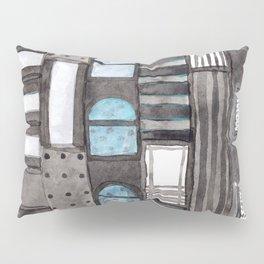 Gray Facade with Lighted Windows Pillow Sham