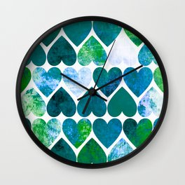 Mod Green & Blue Grungy Hearts Design Wall Clock