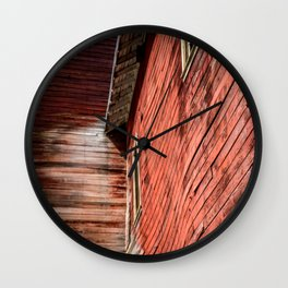 Red wooden walls Wall Clock