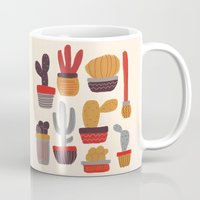alisa burke Mugs featuring Kaktus by Annisa Tiara Utami