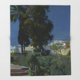 Joaquín Sorolla y Bastida (Spanish, 1863 - 1923) Corner of the Garden, Alcazar, Sevilla, 1910, Oil Throw Blanket