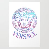 holographic Art Prints featuring Holographic Medusa by Goldflakes