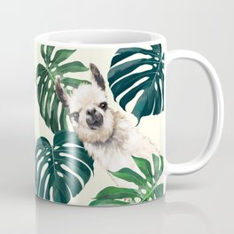 Sneaky Llama with Monstera Coffee Mug