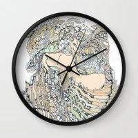 pony Wall Clocks featuring trick pony by Cassidy Rae Marietta