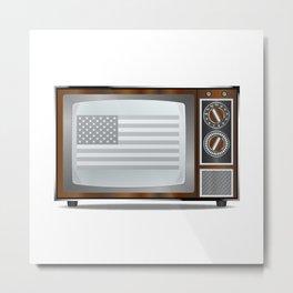 Patriotic Black And White Television Metal Print