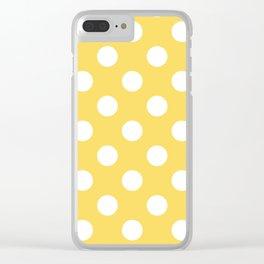 Stil de grain yellow - yellow - White Polka Dots - Pois Pattern Clear iPhone Case