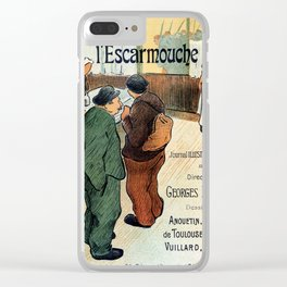 L'Escarmouche Vintage French bar scene Clear iPhone Case