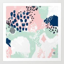 Ostara - minimal abstract painting trendy navy mint and pink pastels acrylic large minimalist Art Print