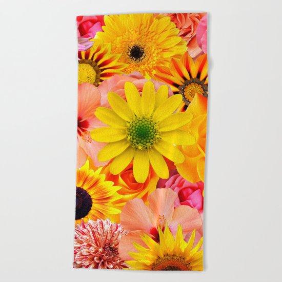 ORANGE FLOWERS Beach Towel