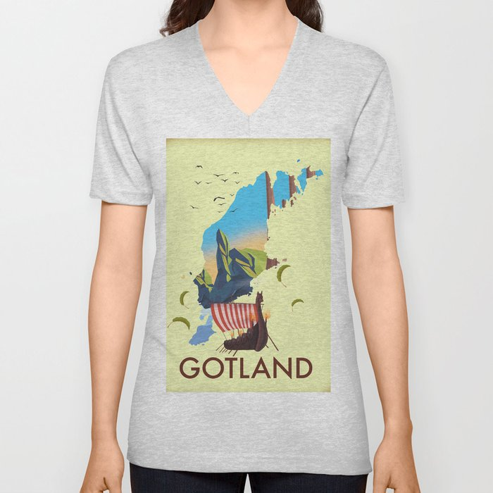 Gotland Viking map. Unisex V-Neck
