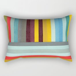 X-Y Axis: Mixed Media Collage Painting Rectangular Pillow