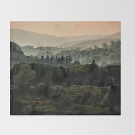 Foggy morning in Lake District Throw Blanket