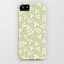 Assorted Leaf Silhouettes White on Lime Ptn iPhone Case