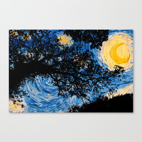 Starry Forest Night Canvas Print