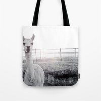 llama Tote Bags featuring Llama by PoseManikin