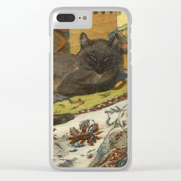"""Théophile Steinlen """"Cat on a blanket"""" Clear iPhone Case"""