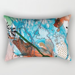 Orange and Blue Botanical Coral Reef Abstract Rectangular Pillow