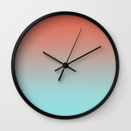 Pantone Living Coral & Limpet Shell Gradient Ombre Blend, Soft Horizontal Line Wall Clock
