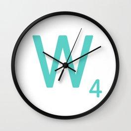 Aqua Letter W Scrabble Wall Art Wall Clock