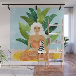 Meditation With Thy Cat #illustration #painting Wall Mural