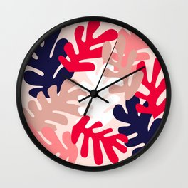Pink Floral Cutouts Pattern Wall Clock