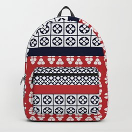 Japanese Style Ethnic Quilt Blue and Red Backpack