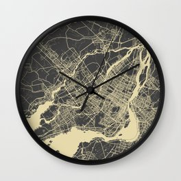 Montreal Map yellow Wall Clock