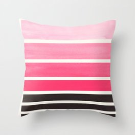 Pink Minimalist Watercolor Mid Century Staggered Stripes Rothko Color Block Geometric Art Throw Pillow