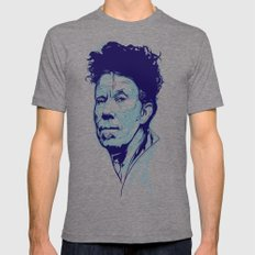 Tom Waits Portrait Mens Fitted Tee LARGE Tri-Grey