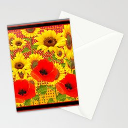 RED POPPIES YELLOW SUNFLOWERS  GREY PATTERN ART Stationery Cards