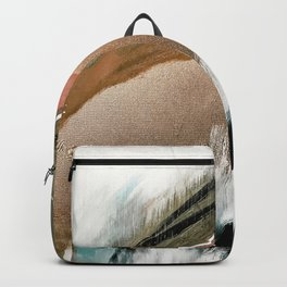 Head in the Clouds [2]: colorful abstract piece in pink, teal, gold, black and white Backpack