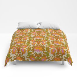 Orange, Pink Flowers and Green Leaves 1960s Retro Vintage Pattern Comforters