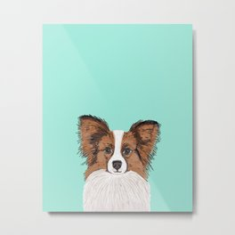 Papillon cute dog fluffy puppy funny valentine love pet gift for dog person with papillon dog Metal Print