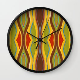 Green Brown Red with Orange and Blue Highlighting Retro Style by annmariescreations Wall Clock