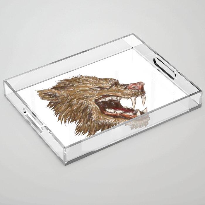 Head with sharp teeth Acrylic Tray
