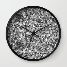 Silver Cyber Glow Neon Squares Pattern Wall Clock