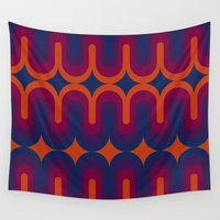 70s Wall Tapestries featuring 70s Geometric Design - Sunset Swoops by erinsaurus