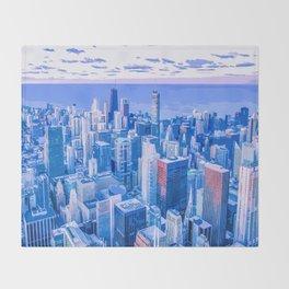 Blue Chicago Skyline Throw Blanket