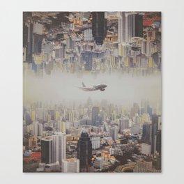 The plane flew over the city, Bangkok  ,Thailand Canvas Print