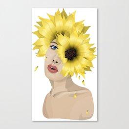 Sunflower women art print Canvas Print