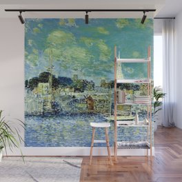 Classical Masterpiece 'Newport, Rhode Island Waterfront' by Frederick Childe Hassam Wall Mural