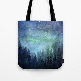 Watercolor Galaxy Nebula Northern Lights Painting Tote Bag