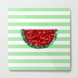 Sparkly Watermelon Light Green Metal Print