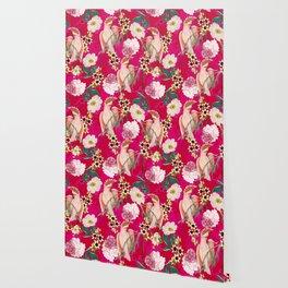 Vintage & Shabby Chic - Tropical Bird Flower Garden Wallpaper